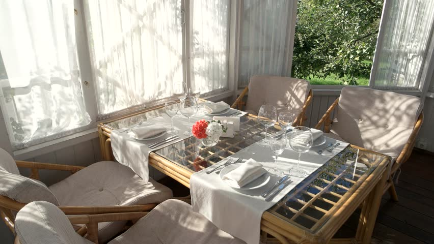 Table With Plates And Glasses Summer Behind The Window Cheap Family Restaurant