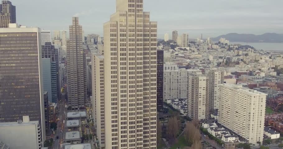 Aerial Close up San Francisco Buildings, Financial District