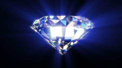 Shiny diamond with sparkle, seamless loop rotation
