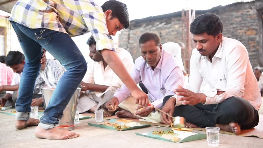 SALUNKWADI, INDIA \xD0 November 15, 2016: Community lunch in rural village Salunkwadi, Ambajogai, Beed, Maharashtra, India, South East Asia. | Shutterstock HD Video #28436938