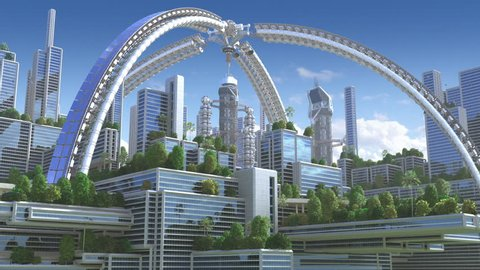 """3D Animation of a futuristic """"green"""" city with an arched structure and high rise buildings with terraces covered in vegetation, for environmental architecture backgrounds."""