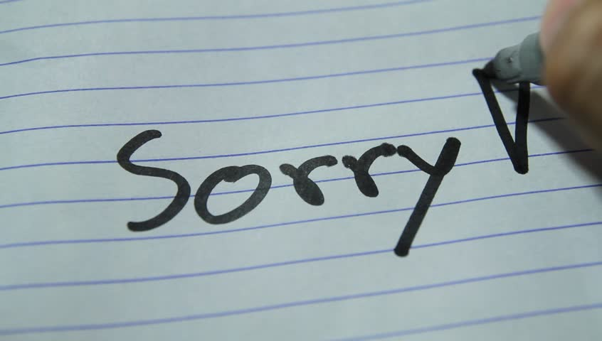 sorry ,Write to apologize
