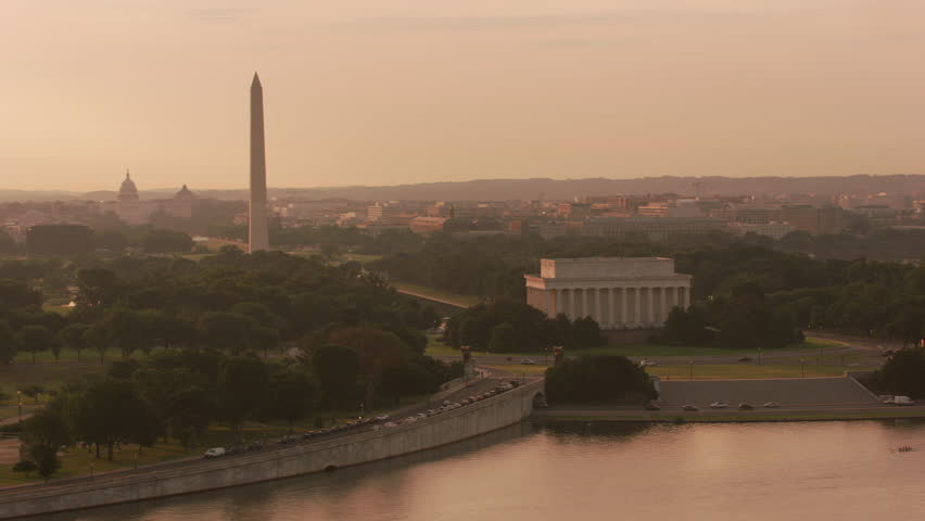 Washington, D.C. circa-2017, Aerial view of the Lincoln Memorial, Washington Monument and Capitol Building at sunrise. Shot with Cineflex and RED Epic-W Helium.