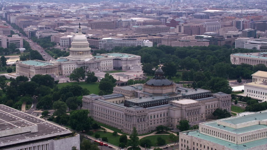Washington, D.C. circa-2017, Aerial view of the Library of Congress and Capitol. Shot with Cineflex and RED Epic-W Helium. | Shutterstock HD Video #28498981