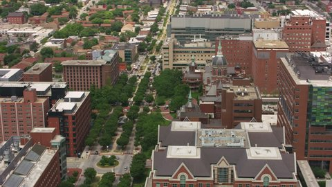 Baltimore, Maryland circa-2017, Aerial view of Johns Hopkins Hospital building. Shot with Cineflex and RED Epic-W Helium.