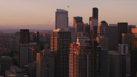 Seattle, Washington circa-2017, Aerial view of Seattle and Mt. Rainier at sunrise. Shot with Cineflex and RED Epic-W Helium.