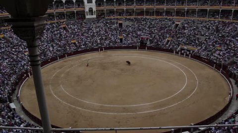 Corrida bullfight at full stadium in Madrid Spain