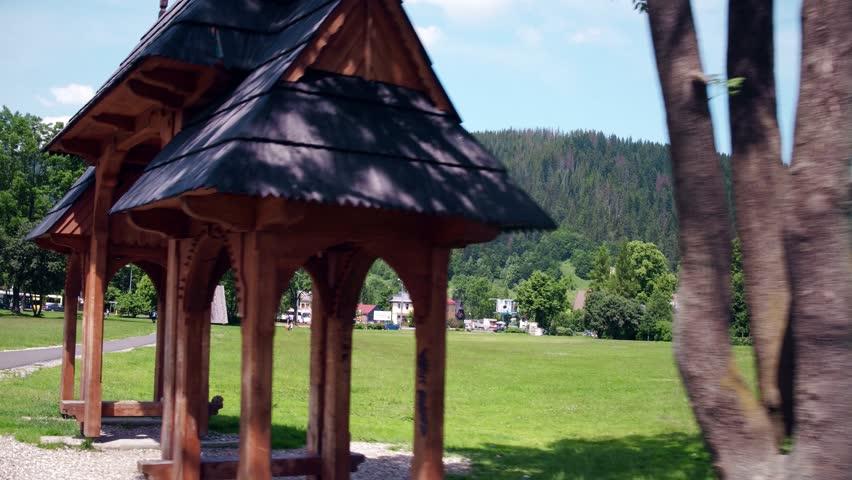 Travelling shot of Zakopane town and the Tatra mountains, Poland
