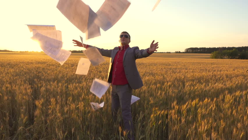 Rear view of a businessman in suit with a stack of documents going the wheat field and throwing up documents in slow motion. Backlight #28552771