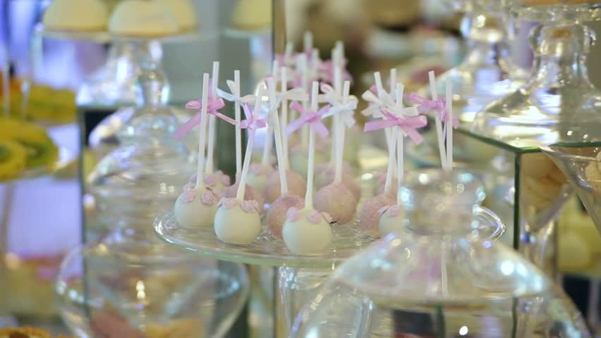 Delicious Wedding Reception Candy Bar Dessert Table Hd Stock Video Clip