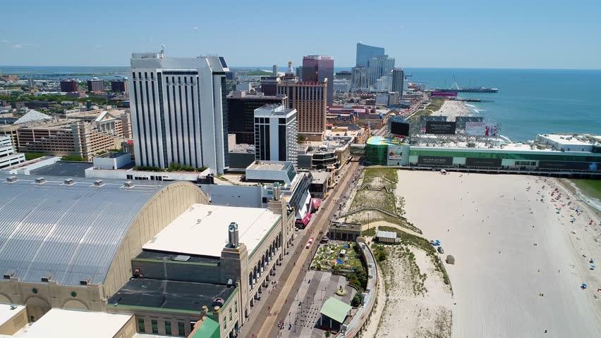 ATLANTIC CITY, NJ, USA - JUNE 28, 2017: Aerial tour Atlantic City boardwalk NJ USA