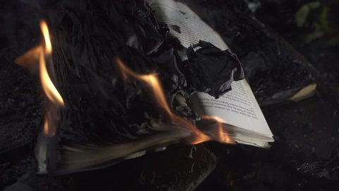the book is burning close up