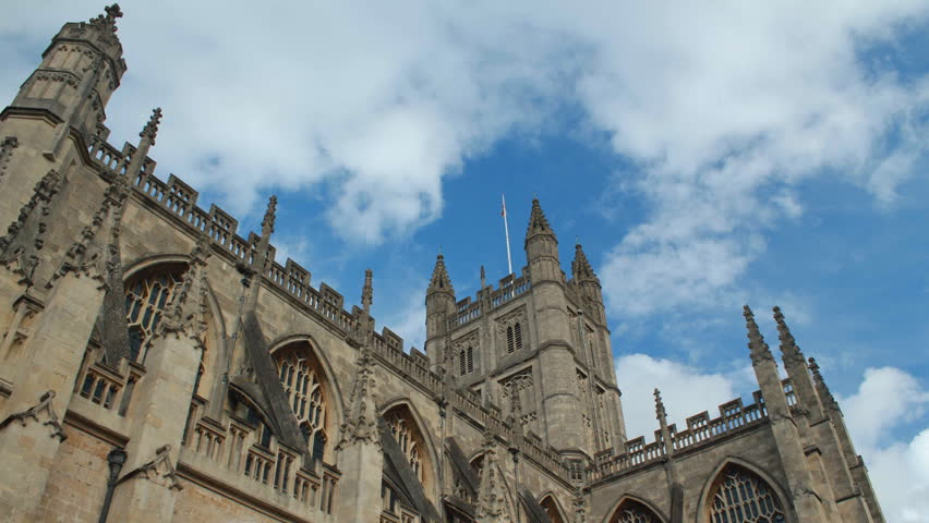 Timelapse of clouds over Bath Abbey