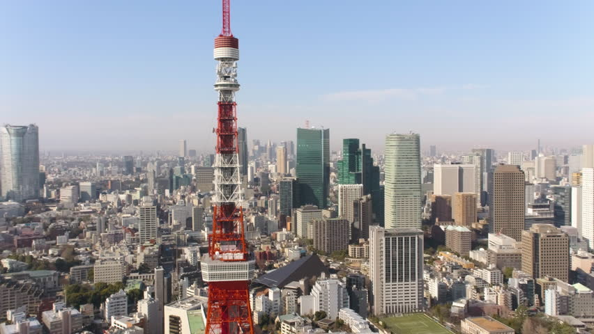 Japan Tokyo Aerial v34 Flying low around Tokyo tower with cityscape views