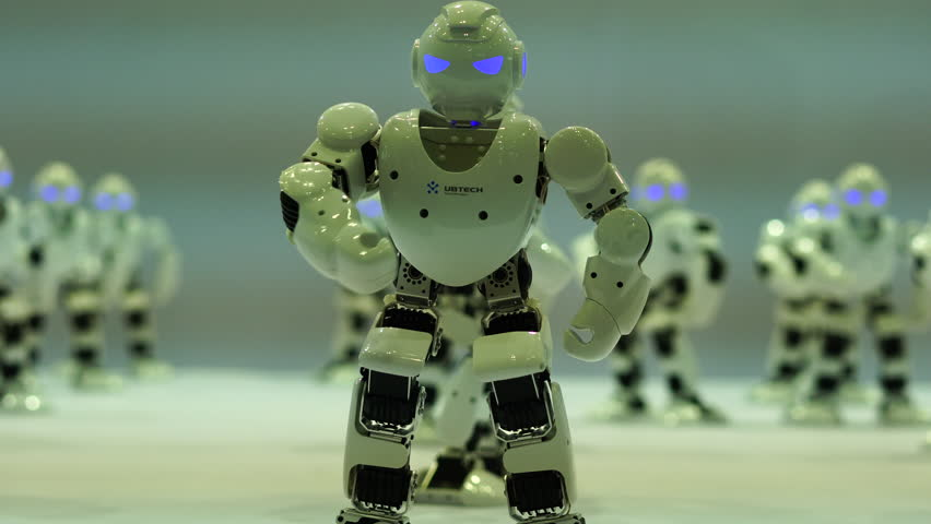 July. 8th, 2017-Beijing,China:  Robots dance for the audience on Beijing International Consumer electronics Expo.