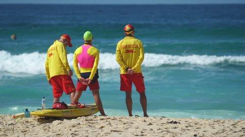 Australian lifeguards on beach - March 2017: Bondi beach, Sydney, Australia
