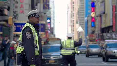 New York, Usa, 05.05.2017. Traffic in Manhattan. Police in New York regulate traffic on the streets of Manhattan