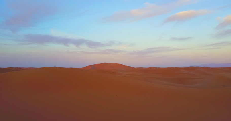 Morocco-2010s: A remarkable aerial over desert sand dunes at sunrise in Morocco. #28631311