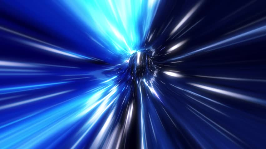 3D Blue Curved Loopable Space Interstellar Wormhole Background Animation