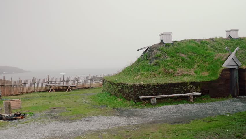 The cool viking settlement in Newfoundland Canada l'anse aux meadows where North America was discovered by vikings before Christopher Columbus