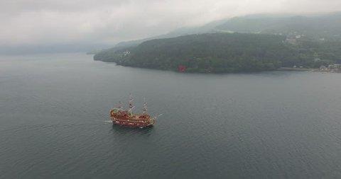 Lake Ashi Aerial / Hakone Lake Aerial / Fuggy, Cloudy / Kanagawa Prefecture, Japan