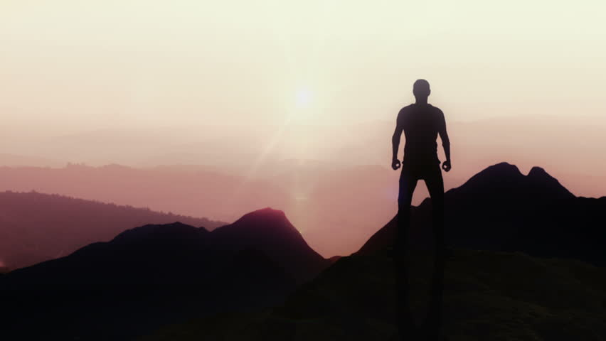 Animated CGI silhouette in a victory pose on the peak of a mountain. 4K animation. | Shutterstock HD Video #28699486