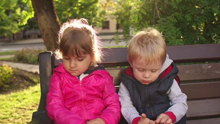 Fun Boy Three Or Four Years Kissing Sad Girl Outdoors -9297