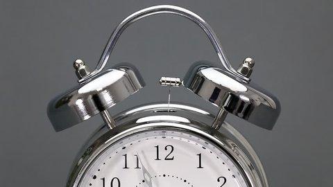 Tempus Fugit no.5 Vintage alarm clock rings starting just before 12 o'clock.