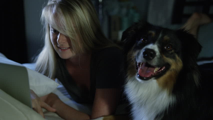 Woman and Dog watching Tv together on laptop | Shutterstock HD Video #28750081