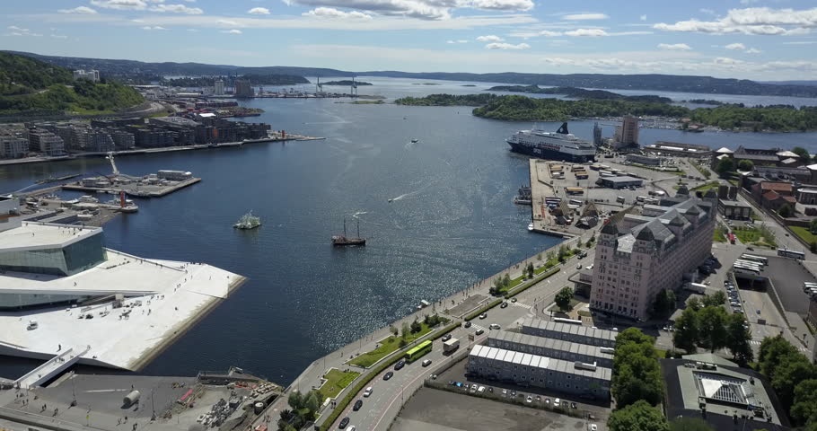 Aerial of ship in port Oslo Norway