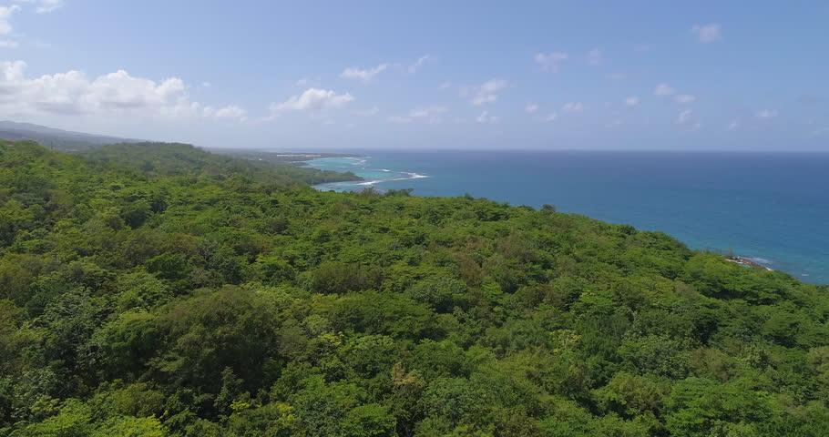 Aerial Shot Fly Over Exotic Caribbean Ocean Coast Jamaican Nature Landscape Tropical Holiday Destination Summer Getaway Concept Slow Motion 4k