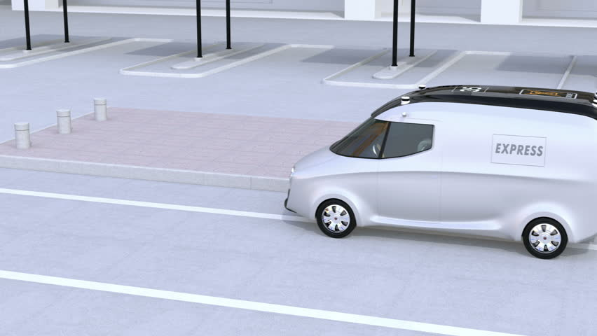 Delivery van releasing a self-driving delivery robot by tail lift. Automatic delivery system concept. 3D rendering animation. | Shutterstock HD Video #28755718