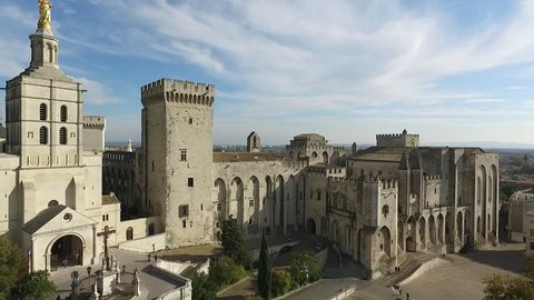 AVIGNON FRANCE NOV 2016 - DRONE SHOT OF THE HISTORICAL CENTER. THE POPES PALACE AND THE SQUARE. FALL ATMOSPHERE IN PROVENCE.