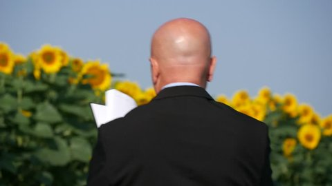 Back View with Businessman Walking and Writing in Agenda in Sunflower Field (Ultra High Definition, UltraHD, Ultra HD, UHD, 4K, 3840x2160)
