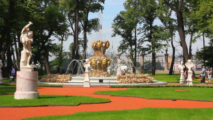Stock Video Of Renovated Summer Garden Park In St