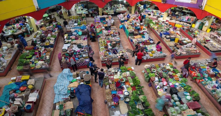 Time lapse of moving people in Pasar Besar Siti Khadijah in Kelantan, Malaysia