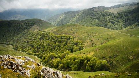 Way from Saint-Jean-Pied-de-Port to Roncesvalles, Camino de Santiago through the Pyrenees.
