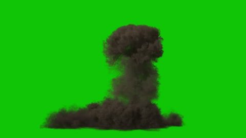 Big Explosion Bomb High Smoke Green Screen 3D Rendering Animation VFX