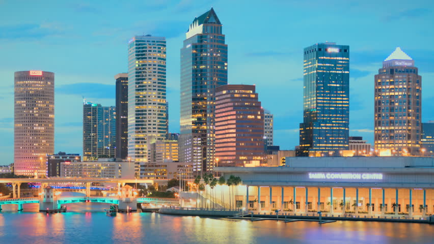 Tampa, Florida downtown city skyline day to night time lapse