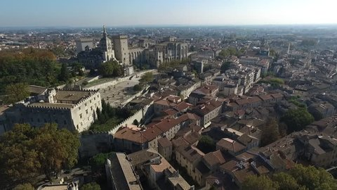 AVIGNON FRANCE NOV 2016 - AERIAL VIEW  OF THE HISTORICAL CENTER. PALACE OF THE POPES. FALL ATMOSPHERE IN PROVENCE.