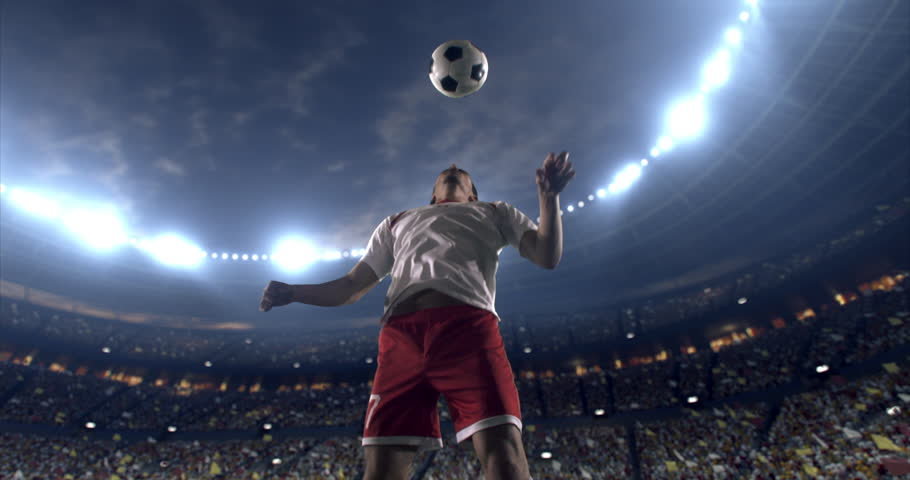 Footage of a soccer player in dramatic play during a soccer game on a professional outdoor soccer stadium. Player wears unbranded uniform. Stadium and crowd are made in 3D. | Shutterstock HD Video #28910671