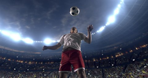 Footage of a soccer player in dramatic play during a soccer game on a professional outdoor soccer stadium. Player wears unbranded uniform. Stadium and crowd are made in 3D.