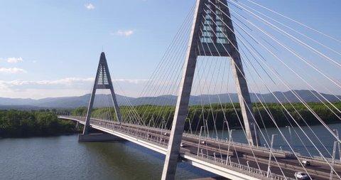 Aerial view of Budapest - Megyeri Bridge