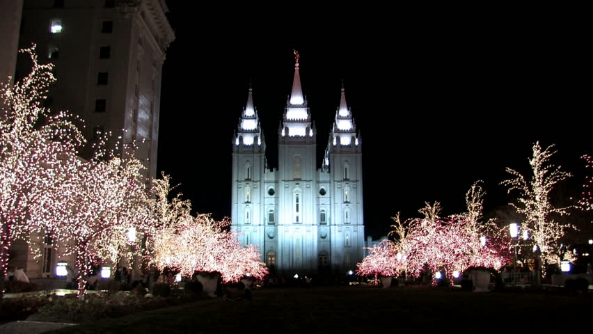 SALT LAKE CITY, UTAH - DEC 2016: Mormon LDS Temple Night Christmas ...