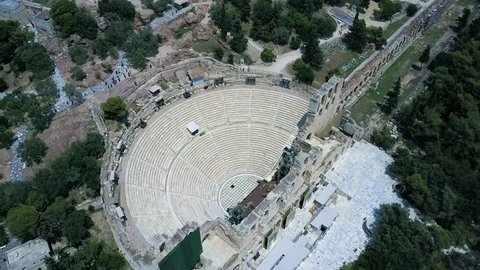Slow Panning Aerial Video of the Parthenon and the Ruins in Athens Greece. Includes shots of the theater and the surrounding ruins.