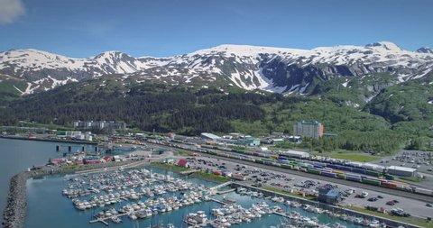 Aerial: Port Harbor of Whittier near Anchorage, Alaska