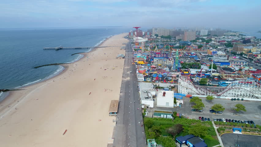 Coney Island drone aerial footage 4k prores | Shutterstock HD Video #28986571
