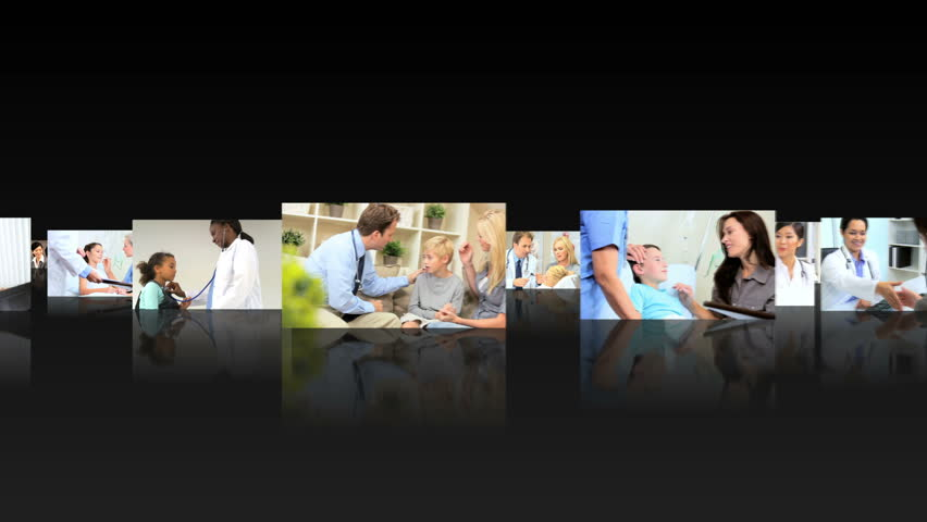 Montage 3D fly through images health professionals working with patients in medical centers