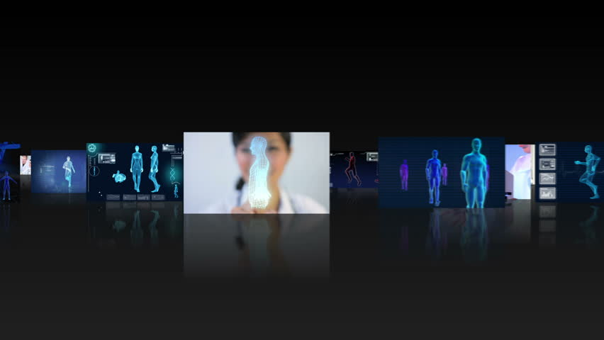 Montage fly through 3D clips medical research professionals working in a modern laboratory and CG digital images