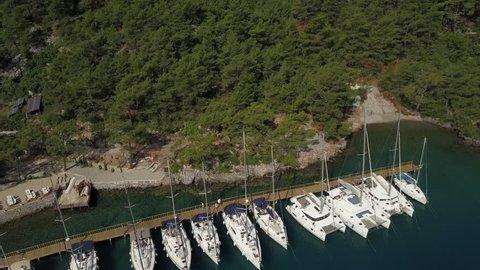 Aerial Video of Marmaris  Marina Yacht and Boats